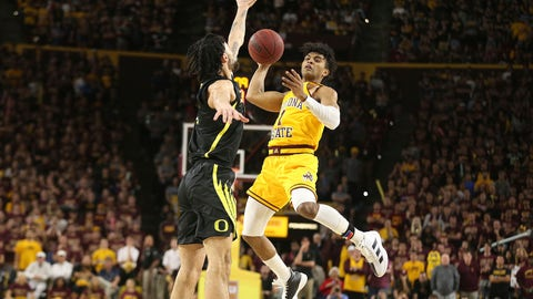 <p>               Arizona State's Remy Martin (1) looks for an open teammate as Oregon's Addison Patterson (22) defends during the second half of an NCAA college basketball game Thursday, Feb. 20, 2020, in Tempe, Ariz. (AP Photo/Darryl Webb)             </p>