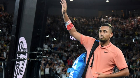 <p>               Australia's Nick Kyrgios waves after losing his their fourth round singles match to Spain's Rafael Nadal at the Australian Open tennis championship in Melbourne, Australia, Monday, Jan. 27, 2020. (AP Photo/Andy Brownbill)             </p>