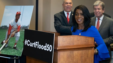 <p>               Rep. William Lacy Clay, D-Mo., left, and Sen. Roy Blunt, R-Mo., right, stand as Judy Pace Flood speaks during a news conference as they call for the late Curt Flood to be inducted into the Baseball Hall of Fame, on Capitol Hill, Thursday, Feb. 27, 2020 in Washington. (AP Photo/Alex Brandon)             </p>