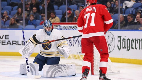 <p>               Buffalo Sabres goalie Jonas Johansson (34) stops Detroit Red Wings forward Dylan Larkin (71) during the second period of an NHL hockey game Thursday, Feb. 6, 2020, in Buffalo, N.Y. (AP Photo/Jeffrey T. Barnes)             </p>