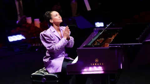 <p>               Alicia Keys reacts after performing during a celebration of life for Kobe Bryant and his daughter Gianna Monday, Feb. 24, 2020, in Los Angeles. (AP Photo/Marcio Jose Sanchez)             </p>