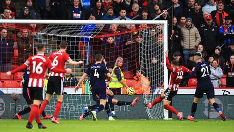 <p>               Sheffield United's Billy Sharp, second right, scores against Bournemouth during the English Premier League soccer match at Bramall Lane, Sheffield, England, Sunday Feb. 9, 2020. (Danny Lawson/PA via AP)             </p>