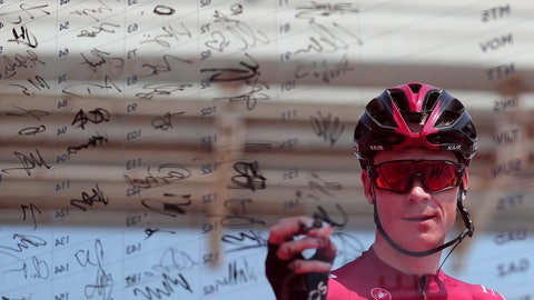 <p>               Britain's Chris Froome of Ineos Team signs in before start of the first stage of the UAE cycling tour in Dubai, United Arab Emirates, Sunday, Feb, 23, 2020. (AP Photo/ Mahmoud Khaled)             </p>