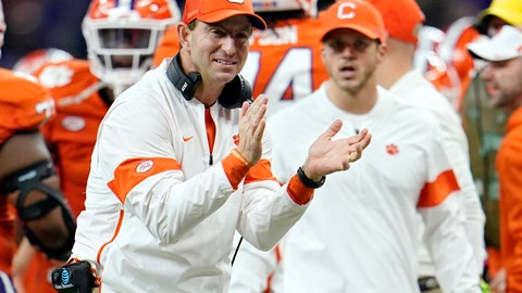 <p>               FILE - In this Jan. 13, 2020, file photo, Clemson head coach Dabo Swinney celebrates after his team scored during the second half of a NCAA College Football Playoff national championship game against LSU in New Orleans. The Tigers have locked up the best recruiting class of the Dabo Swinney era, which already includes two national titles and five playoff appearances. (AP Photo/David J. Phillip, File)             </p>