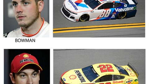 <p>               These photos taken in February 2020 show drivers in the starting lineup for Sunday's NASCAR Daytona 500 auto race in Daytona Beach, Fla. From top are Ricky Stenhouse Jr., starting in the first position; Alex Bowman, second position; Joey Logano, third position and William Byron, fourth position. (AP Photo)             </p>