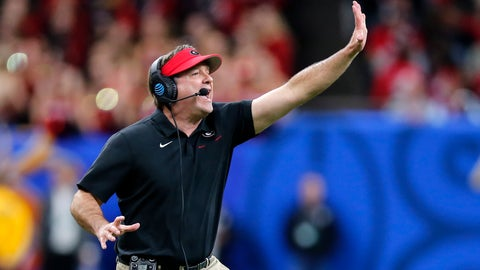 <p>               Georgia coach Kirby Smart calls out from along the sideline during the first half of the team's Sugar Bowl NCAA college football game against Baylor in New Orleans, Wednesday, Jan. 1, 2020. (AP Photo/Brett Duke)             </p>