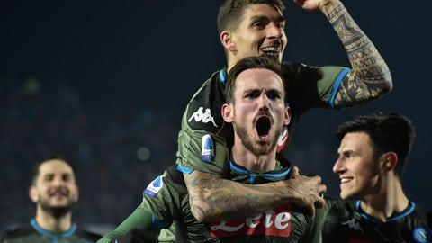 <p>               Napoli's Fabian Ruiz celebrates scoring during the Serie A soccer match between Brescia and Napoli in Brescia, Italy, Friday Feb. 21, 2020. (Gianluca Checchi/LaPresse via AP)             </p>