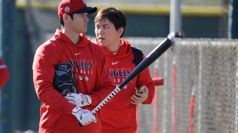 <p>               Los Angeles Angels' Shohei Ohtani walks to the batting cage during spring training baseball practice, Wednesday, Feb. 12, 2020, in Tempe, Ariz. (AP Photo/Darron Cummings)             </p>
