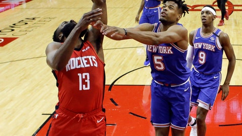 <p>               Houston Rockets guard James Harden (13) shoots as New York Knicks guard Dennis Smith Jr. (5) defends during the first half of an NBA basketball game, Monday, Feb. 24, 2020, in Houston. (AP Photo/Eric Christian Smith)             </p>