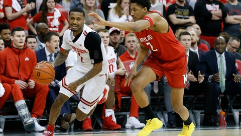 <p>               Ohio State's Luther Muhammad, left, brings the ball upcourt past Maryland's Aaron Wiggins during the second half of an NCAA college basketball game Sunday, Feb. 23, 2020, in Columbus, Ohio. (AP Photo/Jay LaPrete)             </p>