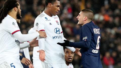 <p>               PSG's Marco Verratti, right, argues with Lyon's Marcelo during the League One soccer match between Paris Saint Germain and Lyon at the Parc des Princes stadium in Paris, Sunday, Feb. 9, 2020. (AP Photo/Thibault Camus)             </p>