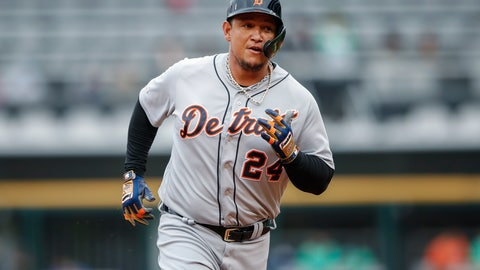 <p>               FILE - In this Sept. 28, 2019, file photo ,Detroit Tigers' Miguel Cabrera rounds the bases after hitting a solo home run off of Chicago White Sox's Reynaldo Lopez during the first inning in the first baseball game of a doubleheader in Chicago. (AP Photo/Kamil Krzaczynski, File)             </p>