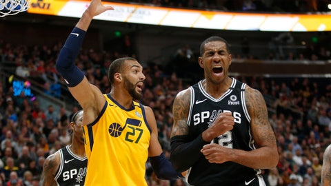 <p>               Utah Jazz center Rudy Gobert (27) reacts after fouling San Antonio Spurs forward LaMarcus Aldridge, right, during the first half of an NBA basketball game Friday, Feb. 21, 2020, in Salt Lake City. (AP Photo/Rick Bowmer)             </p>