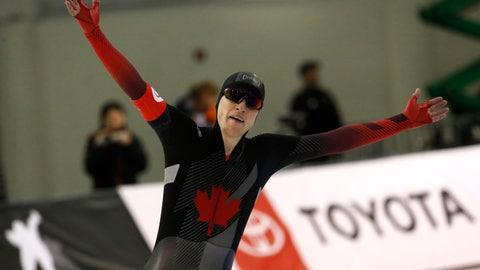 <p>               Canada's Graeme Fish celebrates after the men's 10,000 meters during the world single distances speedskating championships Friday, Feb. 14, 2020, in Kearns, Utah. (AP Photo/Rick Bowmer)             </p>