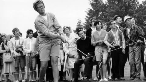 <p>               FILE - In this  1967 file photo, the gallery follows Mickey Wright's iron shot from the fairway at the Toronto Golf Club. Hall of Fame golfer Wright, who won 82 LPGA tournaments including 13 majors, died Monday, Feb. 17, 2020, of a heart attack, her attorney said. Wright was 85. (AP Photo, File)             </p>