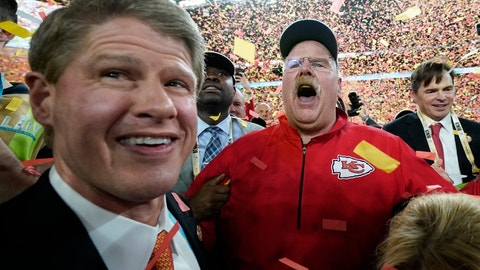 <p>               Kansas City Chiefs Chairman Clark Hunt, left, and head coach Andy Reid celebrate after defeating the San Francisco 49ers in the NFL Super Bowl 54 football game Sunday, Feb. 2, 2020, in Miami Gardens, Fla. (AP Photo/David J. Phillip)             </p>
