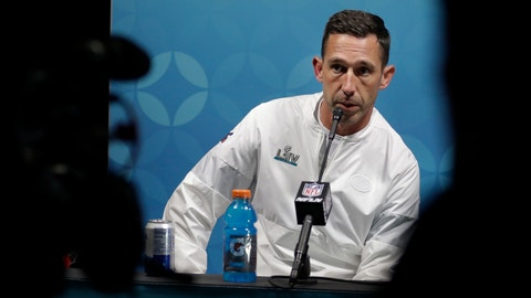 <p>               San Francisco 49ers head coach Kyle Shanahan speaks during a news conference after the NFL Super Bowl 54 football game against the Kansas City Chiefs Sunday, Feb. 2, 2020, in Miami Gardens, Fla. (AP Photo/John Bazemore)             </p>