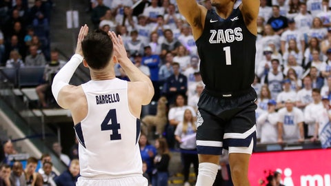 <p>               Gonzaga guard Admon Gilder (1) shoots as BYU guard Alex Barcello (4) defends in the first half of an NCAA college basketball game Saturday, Feb. 22, 2020, in Provo, Utah. (AP Photo/Rick Bowmer)             </p>