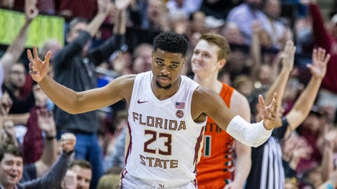 <p>               Florida State guard M.J. Walker (23) celebrates a 3-point shot in the first half of an NCAA college basketball game against Miami in Tallahassee, Fla., Saturday, Feb. 8, 2020. (AP Photo/Mark Wallheiser)             </p>