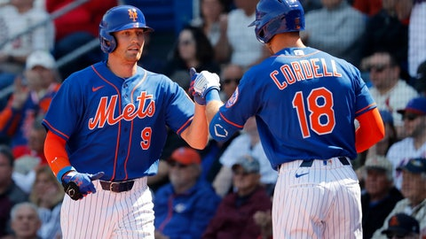 <p>               New York Mets' Brandon Nimmo (9) is congratulated by teammate Ryan Cordell (18) after scoring during the first inning of a spring training baseball game against the St. Louis Cardinals Friday, Feb. 28, 2020, in Port St. Lucie, Fla. (AP Photo/Jeff Roberson)             </p>