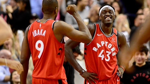 <p>               Toronto Raptors' Serge Ibaka (9) and Pascal Siakam (43) celebrate the team's win over the Brooklyn Nets in an NBA basketball game Saturday, Feb. 8, 2020, in Toronto. (Frank Gunn/The Canadian Press via AP)             </p>