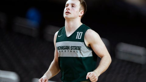 <p>               FILE - In this April 5, 2019, file photo, Michigan State guard Jack Hoiberg runs on the court during a practice session for the semifinals of the Final Four NCAA college basketball tournament in Minneapolis. Fred and Jack Hoiberg will be on opposite benches when Nebraska hosts Michigan State on Thursday night, Feb. 20, 2020. Fred is in his first year as the Cornhuskers' coach, and his son Jack is a reserve guard for the Spartans. (AP Photo/Jeff Roberson, File)             </p>