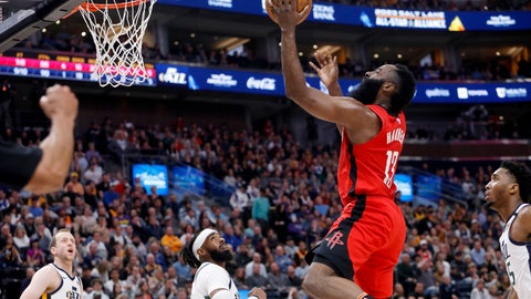 <p>               Houston Rockets' James Harden (13) shoots during the first half of the team's NBA basketball game against the Utah Jazz on Saturday, Feb. 22, 2020, in Salt Lake City. (AP Photo/Kim Raff)             </p>
