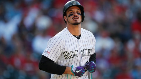 <p>               FILE - In this Sept. 12, 2019, file photo, Colorado Rockies' Nolan Arenado reacts after being put out against the St. Louis Cardinals in the eighth inning of a baseball game in Denver. Arenado, the Rockies' top player, is at odds with the team's management as spring training opens for the club. (AP Photo/David Zalubowski, File)             </p>
