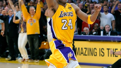 <p>               FILE - In this June 17, 2010, file photo, Los Angeles Lakers guard Kobe Bryant react as in the final second of Game 7 of the NBA basketball finals against the Boston Celtics in Los Angeles. Bryant was one of eight finalists announced Friday, Feb. 14, 2020, as candidates for enshrinement into the Basketball Hall of Fame later this year, a decision that came as absolutely no surprise in his first year of eligibility. (AP Photo/Mark J. Terrill, File)             </p>