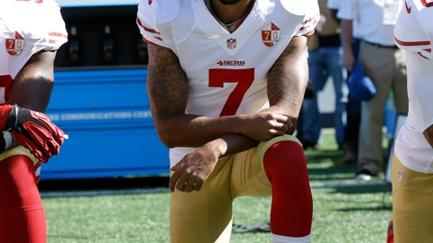 <p>               FILE - In this Sept. 25, 2016, file photo, San Francisco 49ers' Colin Kaepernick kneels during the national anthem before an NFL football game against the Seattle Seahawks in Seattle. The same guys who banished Kaepernick from the league for kneeling during the anthem to raise awareness about those very same issues have ruthlessly commandeered his cause. (AP Photo/Ted S. Warren, File)             </p>