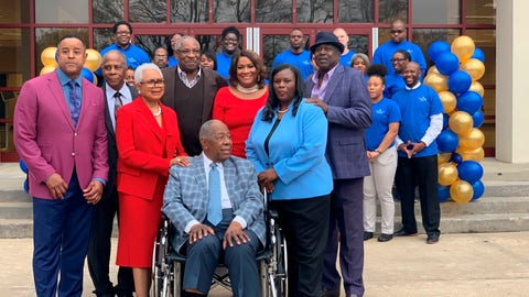 "<p>               Former Atlanta Braves slugger Hank Aaron, center, is surrounded by family and friends as Atlanta Technical College celebrates his 86th birthday, Wednesday, Feb. 5, 2020 in Atlanta. Atlanta Technical College renamed an academic complex for the former Atlanta Braves slugger, christening it the Henry Louis ""Hank"" Aaron Academic Complex. Aaron, a longtime supporter of the college, donates thousands of dollars to the school every year and his Chasing the Dream Foundation awards scholarships to several students. (AP Photo/Ritu Shukla)             </p>"