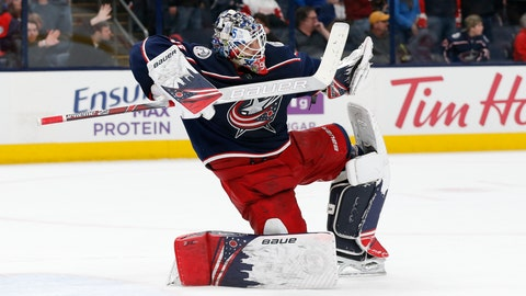 <p>               Columbus Blue Jackets' Elvis Merzlikins, of Latvia, celebrates the team's shutout win over the Detroit Red Wings in an NHL hockey game Friday, Feb. 7, 2020, in Columbus, Ohio. The Blue Jackets won 2-0. (AP Photo/Jay LaPrete)             </p>