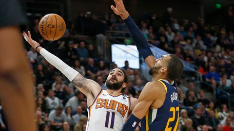 <p>               Phoenix Suns guard Ricky Rubio (11) goes to the basket as Utah Jazz center Rudy Gobert (27) defends in the second half during an NBA basketball game Monday, Feb. 24, 2020, in Salt Lake City. (AP Photo/Rick Bowmer)             </p>