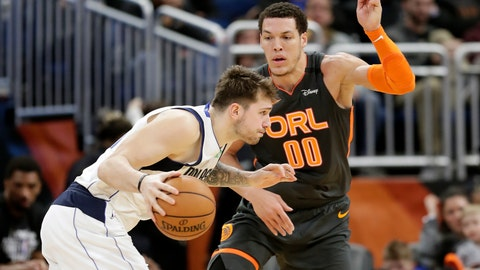 <p>               Dallas Mavericks guard Luka Doncic, left, drives around Orlando Magic forward Aaron Gordon (00) during the second half of an NBA basketball game, Friday, Feb. 21, 2020, in Orlando, Fla. (AP Photo/John Raoux)             </p>