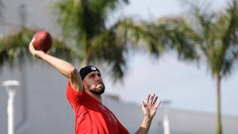 <p>               Boston Red Sox relief pitcher Matt Barnes (32) throws a football after reporting for spring training baseball Tuesday, Feb. 11, 2020, in Fort Myers, Fla. (AP Photo/John Bazemore)             </p>