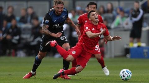 <p>               San Jose Earthquakes' Guram Kashia (37) Toronto FC's fouls Marky Delgado (8) during the second half of an MLS soccer game in San Jose, Calif., Saturday, Feb. 29, 2020. (AP Photo/Jed Jacobsohn)             </p>