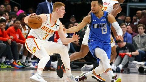 <p>               Atlanta Hawks guard Kevin Huerter (3) is guarded by Dallas Mavericks guard Jalen Brunson (13) in the first half during an NBA basketball game Saturday, Feb. 1, 2020 in Dallas. (AP Photo/Richard W. Rodriguez)             </p>