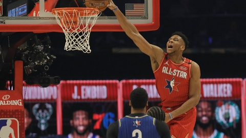 <p>               Giannis Antetokounmpo of the Milwaukee Bucks dunks during the first half of the NBA All-Star basketball game Sunday, Feb. 16, 2020, in Chicago. (AP Photo/Nam Huh)             </p>
