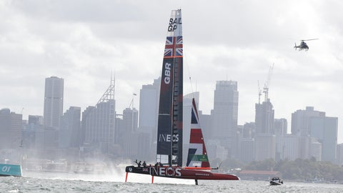 <p>               Britain's boat sails along during the second race of the SailGP on Sydney Harbour, Friday, Feb. 28, 2020. Britain leads the standings after the opening day while Australia and Japan were tied for second with 23 points each. (AP Photo/Rick Rycroft)             </p>