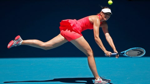 <p>               Russia's Maria Sharapova makes a backhand return to Croatia's Donna Vekic during their first round singles match at the Australian Open tennis championship in Melbourne, Australia, Tuesday, Jan. 21, 2020. (AP Photo/Lee Jin-man)             </p>