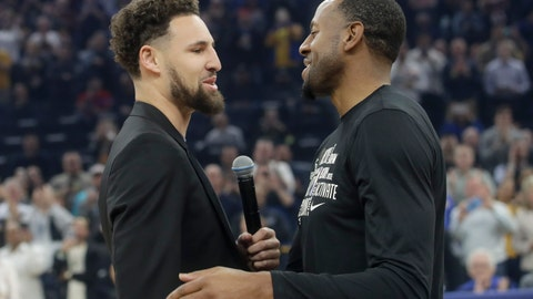 <p>               Injured Golden State Warriors guard Klay Thompson, left, greets Miami Heat guard Andre Iguodala as they address the crowd before their teams' NBA basketball game in San Francisco, Monday, Feb. 10, 2020. (AP Photo/Jeff Chiu)             </p>