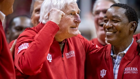 <p>               Former Indiana basketball head coach Bobby Knight, left, makes his first appearance at Indiana University since his dismissal in September of 2000. Knight, along with former player Isiah Thomas, right, are on the court during a ceremony with the Indiana players of the 1980 Big Ten championship team the halftime of an NCAA college basketball game, Saturday, Feb. 8, 2020, in Bloomington, Ind. (AP Photo/Doug McSchooler)             </p>