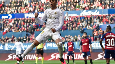 <p>               Real Madrid's Casemiro celebrates a goal during the Spanish La Liga soccer match between Osasuna and Real Madrid at El Sadar stadium in Pamplona, northern Spain, Sunday, Feb. 9, 2020. (AP Photo/Alvaro Barrientos)             </p>