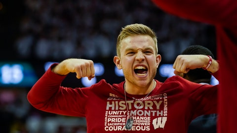 <p>               Wisconsin's Brad Davison celebrates after a teammate was fouled by Michigan State player during the first half of an NCAA college basketball game Saturday, Feb. 1, 2020, in Madison, Wis. Davison is serving a one-game suspension. (AP Photo/Andy Manis)             </p>