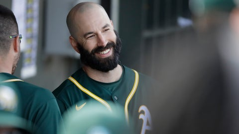 <p>               Oakland Athletics' Mike Fiers smiles in the dugout during the second inning of a spring training baseball game against the San Francisco Giants, Sunday, Feb. 23, 2020, in Mesa, Ariz. (AP Photo/Darron Cummings)             </p>