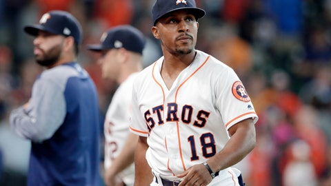 <p>               FILE - In this July 24, 2019, file photo, Houston Astros left fielder Tony Kemp (18) leaves the field after a baseball game against the Oakland Athletics in Houston. Called up in September 2017 by Houston, Kemp immediately got asked by teammates whether he wanted to be a part of the Astros' sign-stealing scheme. His answer was no, and Kemp didn't feel further pressure to do it. The second baseman arrived Friday in Oakland spring training camp and reunited with former Astros teammate Mike Fiers, who went public in November about Houston's sign stealing. (AP Photo/Michael Wyke, File)             </p>
