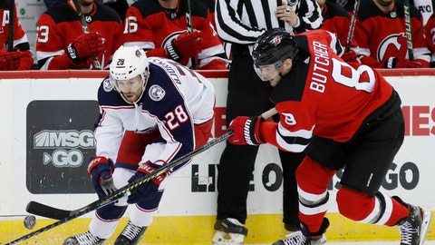 <p>               New Jersey Devils defenseman Will Butcher (8) defends against Columbus Blue Jackets right wing Oliver Bjorkstrand (28) during the first period of an NHL hockey game Sunday, Feb. 16, 2020, in Newark, N.J. (AP Photo/Kathy Willens)             </p>