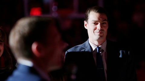 <p>               Former NBA and Gonzaga player Adam Morrison, right, watches as Gonzaga coach Mark Few speaks during a ceremony by the school to honor Morrison before an NCAA college basketball game between Gonzaga and San Diego in Spokane, Wash., Thursday, Feb. 27, 2020. (AP Photo/Young Kwak)             </p>