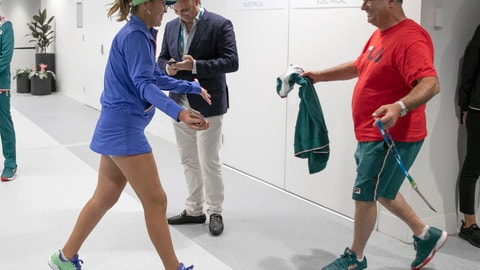 <p>               In this photo provided by Tennis Australia, Sofia Kenin, left, of the U.S. is greeted by her father Alex after defeating Spain's Garbine Muguruza in the women's final at the Australian Open tennis championship in Melbourne, Australia, Saturday, Feb. 1, 2020. (Fiona Hamilton/Tennis Australia via AP)             </p>