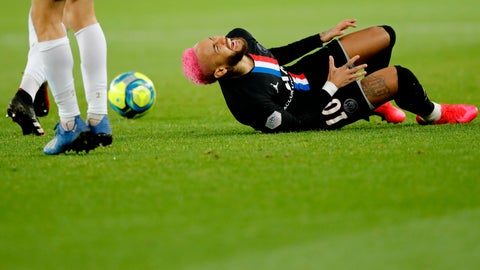 <p>               PSG's Neymar lies on the ground during the French League One soccer match between Paris-Saint-Germain and Montpellier at the Parc des Princes stadium in Paris, Saturday Feb. 1, 2020. (AP Photo/Christophe Ena)             </p>